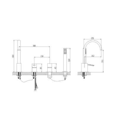 Смеситель для ванны на борт LEMARK Atlantiss LM3241C хром