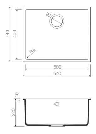 Мойка для кухни из мрамора OMOIKIRI Solidity Bosen 54-U-BL черный