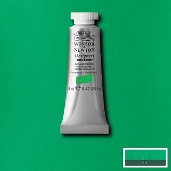 Гуашь Winsor&Newton Designers Gouache блестящий зеленый 14 мл