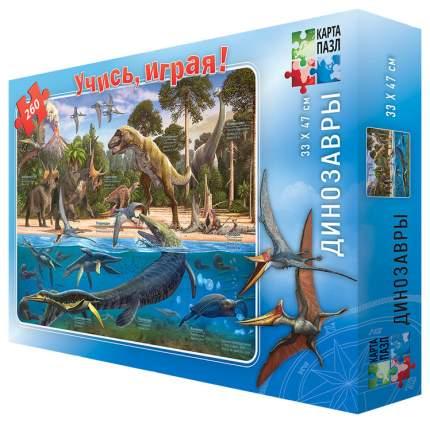 ГЕОДОМ Динозавры. 260 деталей. (Серия: Карта-пазл), арт.4607177453224