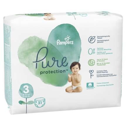 Подгузники Pampers Pure Protection 6-10 кг, размер 3, 31 шт.