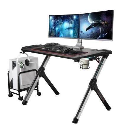 Компьютерный стол (для геймеров) Eureka R1 S с RGB подсветкой, чёрный