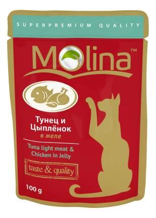 Влажный корм для кошек Molina, с тунцом и цыпленком в желе, 24шт по 100г