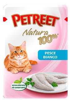 Влажный корм для кошек Petreet Natura, белая рыба, 85г