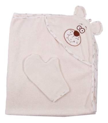 Полотенце детское Осьминожка Мишка с вышивкой бежевое