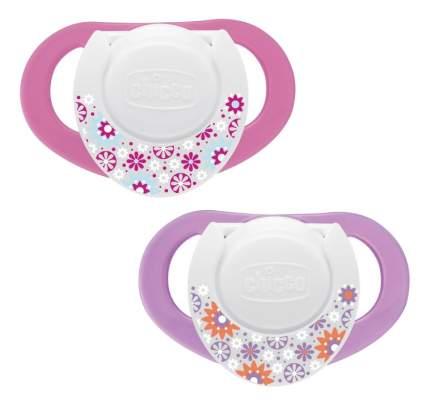 Набор детских пустышек Chicco Physio с 4 мес розовая-сиреневая 2 шт.