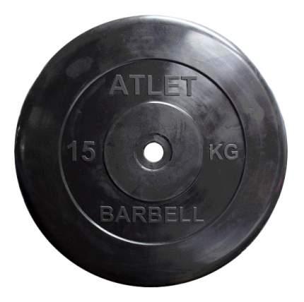 Блин обрезиненный MB Barbell Atlet 15 кг сталь MB-AtletB26-15 26 мм черный