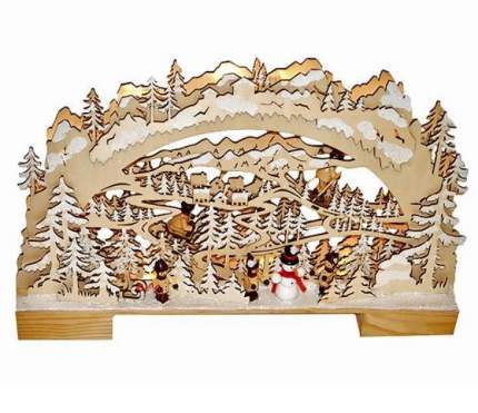 "Светильник-горка ""Снежный Лес"", 26*42 см, 10 LED ламп, батарейка 15-103"