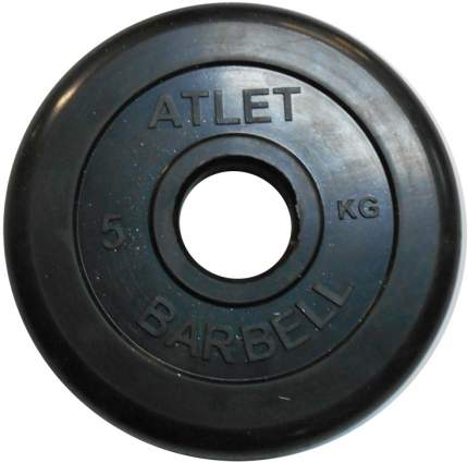 Блин обрезиненный MB Barbell Atlet 5 кг сталь 51 мм черный