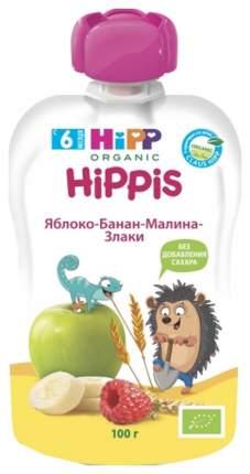 Пюре фруктовое HiPP Яблоко, банан, малина, злаки с 6 мес 100 г