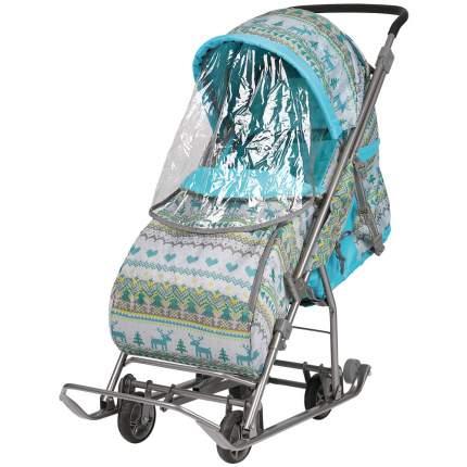 Санки-коляска Baby Care Умка 3-1/4 принт бирюзовый вязаный, со светоотражателями