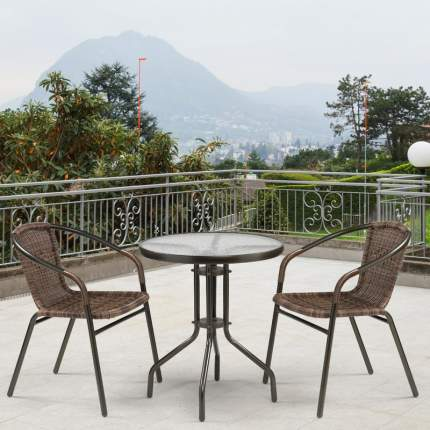 Комплект плетеной мебели  Afina Асоль-1C  TLH-037BR3/TLH060-D60 Brown (2+1)