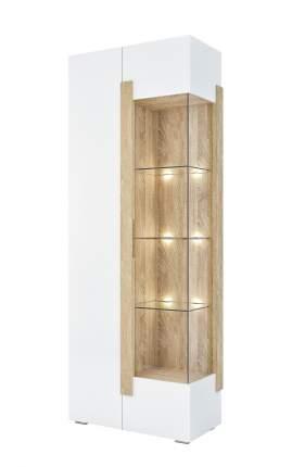 Шкаф-витрина Милана 1701.М3 Сонома / Белый, С подсветкой