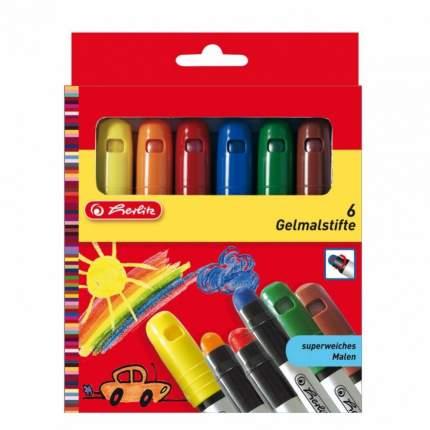 Мелки восковые гелевые Herlitz цветные, 6 штук