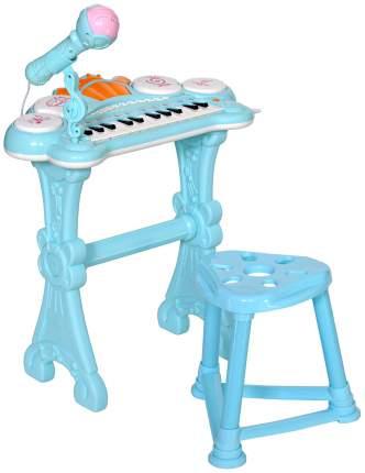 Детское пианино Everflo с микрофоном и стульчиком голубое HS0356831