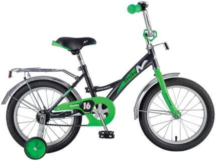 Велосипед Strike со страховочными колесами, черно-зеленый Novatrack Strike 16''