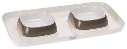 Набор мисок для кошек и собак Ferplast, пластик, белый, серый, 2 шт по 0.4 л