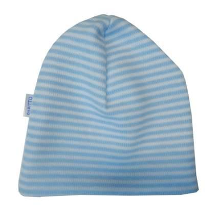 Шапка детская Папитто с начесом голубая полоска р.48 49-031