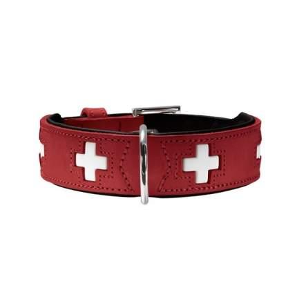 Ошейник для собак HUNTER Swiss 47 (38-43,5см) кожа красный/черный