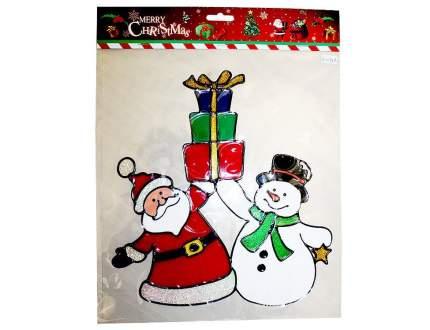 Наклейка на стекло Санта со Снеговиком 27*31 см ST1098A