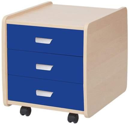 Тумба детская Астек Лидер 3 ящика береза синий