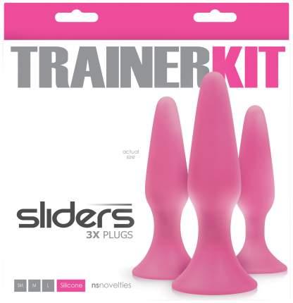 Набор анальных пробок NSNOVELTIES Sliders Trainer Kit-Pink 3 шт, розовый
