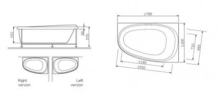 Акриловая ванна Am.Pm Sensation W30A-170R110W-D