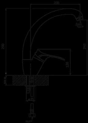 Смеситель для кухонной мойки Flortek FK-02 31FK.02H.1110.302 антрацит