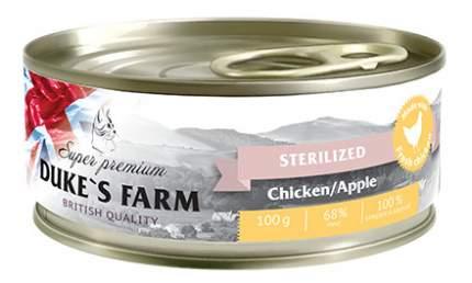 Консервы для кошек DUKE'S FARM Sterilised, для стерилизованных, курица, яблоко, 100г