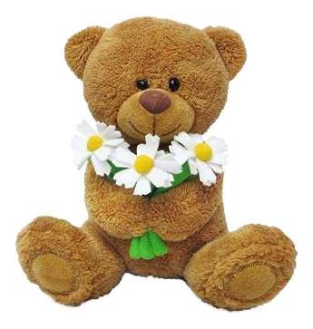 Мягкая игрушка LAVA Медвежонок Сэмми с ромашками музыкальный 18 см