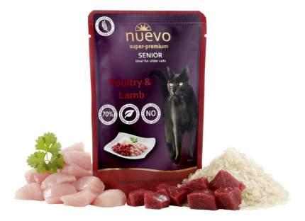 Влажный корм для кошек Nuevo Senior, для пожилых, с мясом птицы, ягненком и рисом, 85г