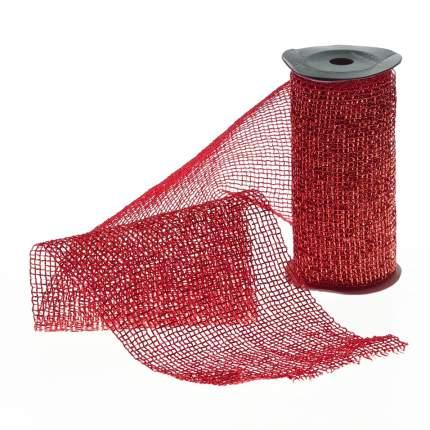 Kaemingk Декоративная лента Сверкающая Сетка красная 270*15 см 440281