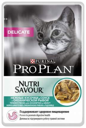 Влажный корм для кошек PRO PLAN Nutri Savour Delicate, рыба, 24шт, 85г