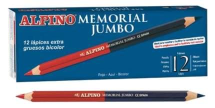 Цветные карандаши Alpino Memorial JUMBO утолщённые двухсторонние шестигранные 12 шт