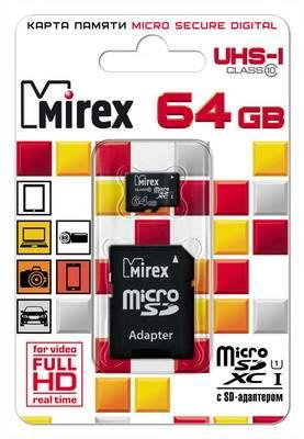 Карта памяти MIREX MicroSDХC 64GB