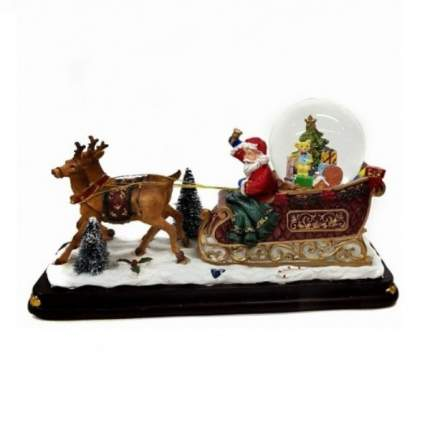 Новогодняя композиция: дед мороз на санях, новогодний шар, музыка, свет,снег 13*13*15 см