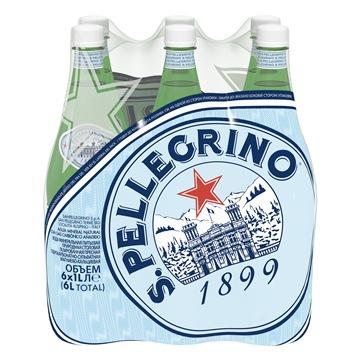 Минеральная газированная вода S.Pellegrino, 6 шт по 1 л
