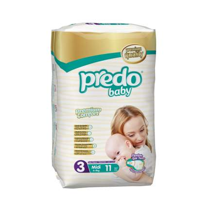 Подгузники Predo Baby Стандартная пачка (11 шт.) № 3 (4-9 кг.) средний