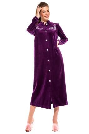 Женский велюровый халат на пуговицах AURORE (PM 391), цвет фиолетовый, размер L (46-48)