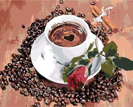 """Картина по номерам Живопись по Номерам """"Кофе с розой"""", 40x50"""