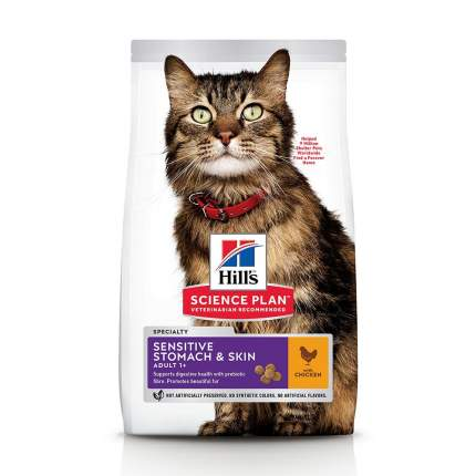 Сухой корм для кошек Hill's Science Plan Sensitive Stomach & Skin, курица, 0,3кг