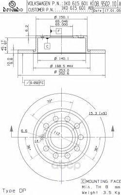 Тормозной диск brembo задний для 08950211