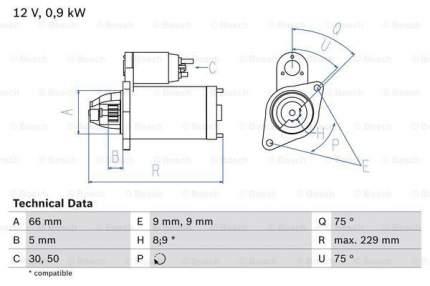 Стартер Bosch 0 986 014 350