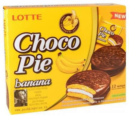 Печенье глазированное Lotte сhoco pie банан 336 г 12 штук