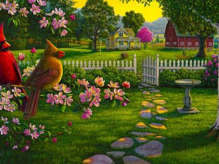 KS038/Сельский пейзаж - раскраски по номерам на картоне