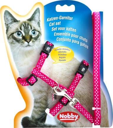 Шлейка с поводком для кошек Nobby Горошек обхват 19-22 см, розовый
