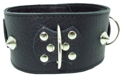 Ошейник BDSM Арсенал кожаный с короткими шипами черный