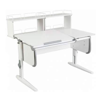Парта Дэми СУТ-25-01Д2 WHITE DOUBLE со столешницей и приставками белый, серый