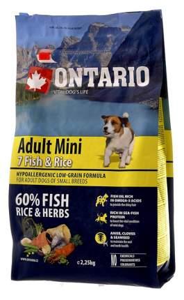 Сухой корм для собак Ontario Adult Mini, для мелких пород, 7 видов рыбы и рис, 2,25кг