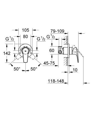 Смеситель для встраиваемой системы Grohe BauFlow 29046000 серебристый
